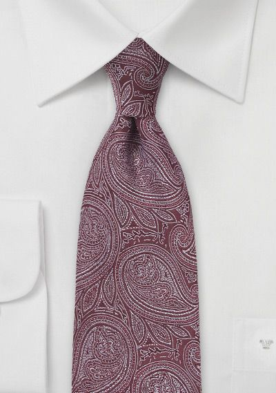Burgundy And Silver Paisley Tie 20