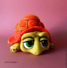 Купить Черепаший суп - черепаха, зеленая, взгляд, валяная игрушка, фильцевание, шерсть, полимерная глина