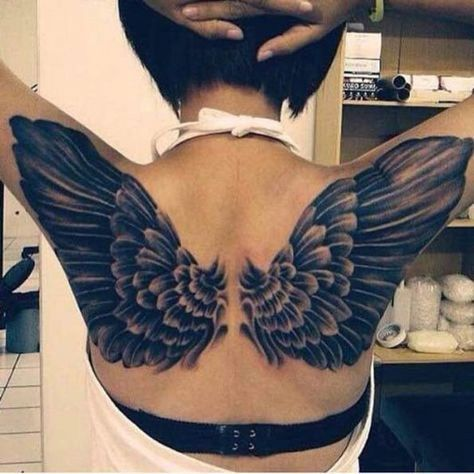 119 Best Angel Wing Tattoo Designs On Back For Women