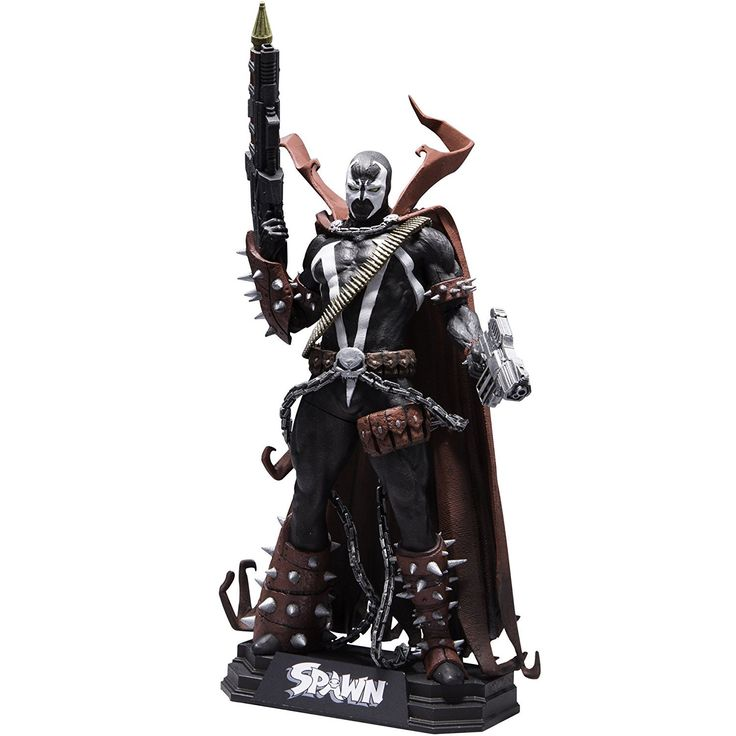 """McFarlane Toys Spawn: Rebirth 7"""" Collectible Action Figure. New 7"""" scale figure packaged in a numbered color tops collector edition window box. Color tops blue wave #10. Sculpted in his signature black and white spawn costume, complete with his iconic red cape and spiked gauntlets. Figure comes with Assault rifle and pistol. Figure includes multiple points of articulation and stylized display base with brand specific callout. First spawn collectible action figure in nearly a decade."""