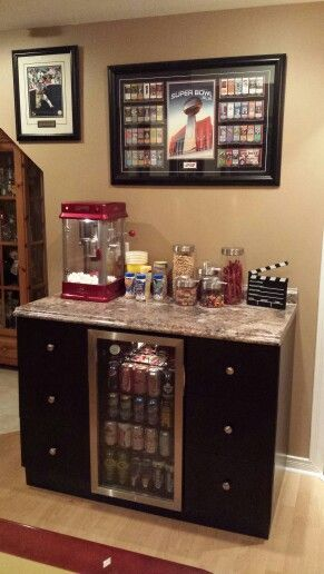 Concession stand, great add on for movie night!  Add some shelves above for glasses and baskets for the snacks