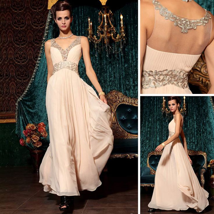 Elegant New A-line Deep V-neck Beading Floor-Length Chiffon Vestidos De Fiesta Formales Long Dress Party Evening US $144.84