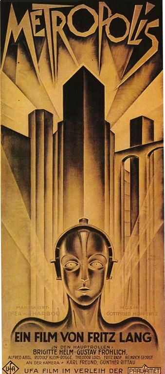 a poster for the 1920s movie metropolis showcasing the