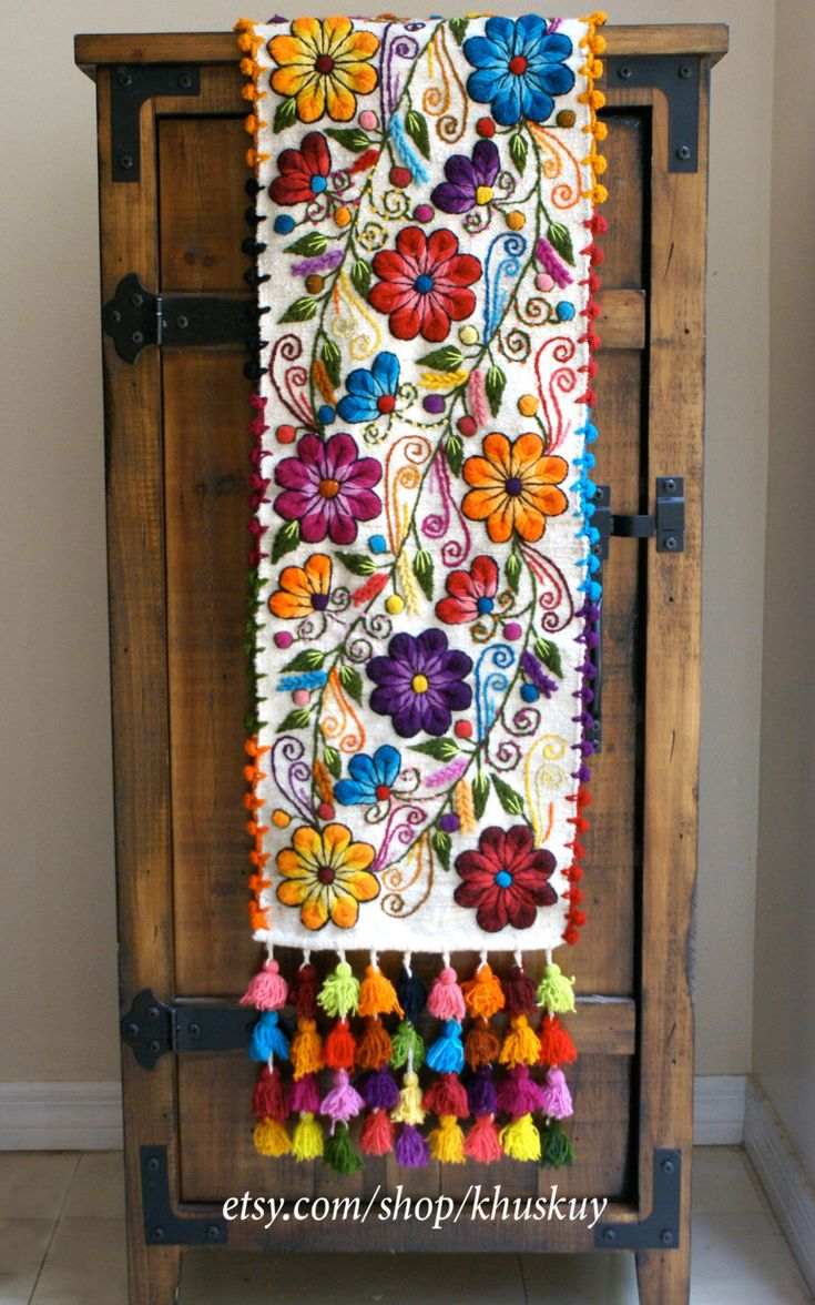 Table Bed runner embroidered Peru Off White Alpaca wool handmade flowers boho-chic bohemian eclectic style peruvian loomed by khuskuy on Etsy https://www.etsy.com/listing/280659496/table-bed-runner-embroidered-peru-off
