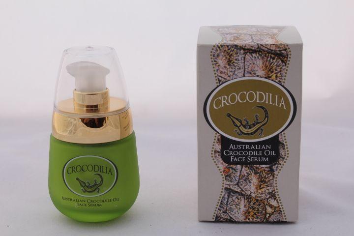 Crocodile Oil & Pomegranate Face Serum by Crocodilia. 30ml's of a beautiful, light, pore refining, anti-wrinkle serum. Rich in Omega 3, 6 & 9 crocodile oil has been used for centuries as a skin rejuvination and anti-ageing treatment. www.crocodilia.com.au