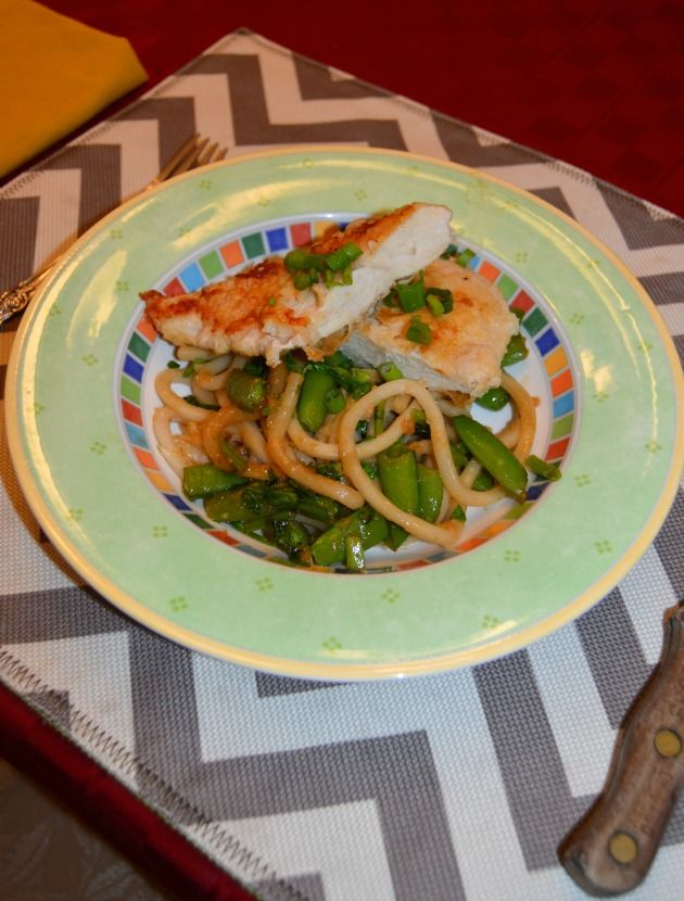 Seared Chicken & Mison Udon Noodles with sauteed Sugar Snap Peas & Pea Tips -Blue Apron Review - Family Focus Blog