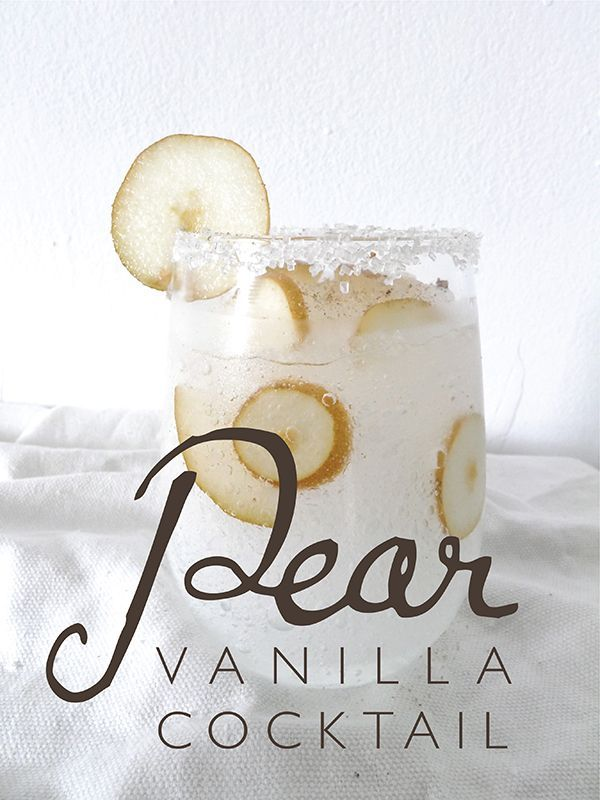 Pear Vanilla Cocktail  INGREDIENTS ♦ 1 ounce of vanilla vodka  ♦ 1 ounce of pear vodka  ♦ Club soda (to fill glass)   ♦ 1/2 small Bosc pear  ♦ Sanding sugar (for garnish)   ♦ Nutmeg, fresh   ♦ Ice, shaved