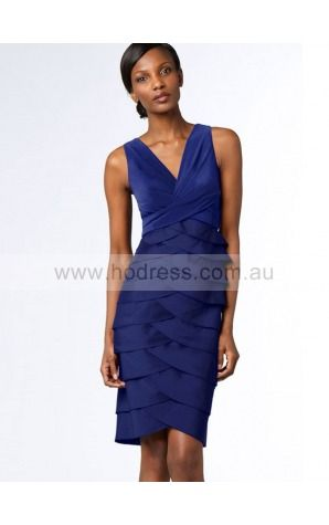 Sleeveless Zipper V-neck Knee-length Satin Evening Dresses dt00179--Hodress