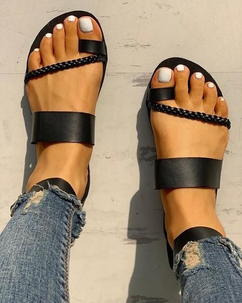 84cea6e710a Toe Ring Braided Design Sandals in 2019 | Women Shoes -2 | Toe rings ...