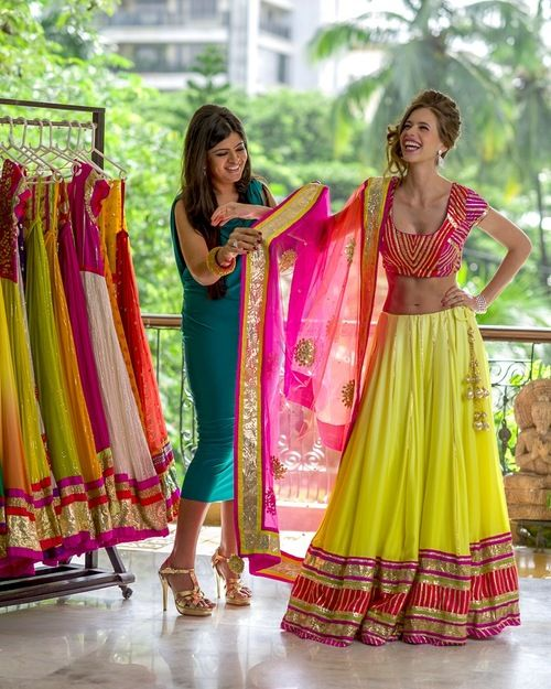 Yellow and pink Lehenga. Bright color Lehenga
