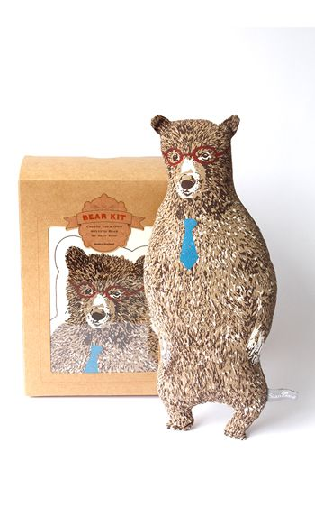 Sian Zeng | Office Bear Sewing Kit in Brown