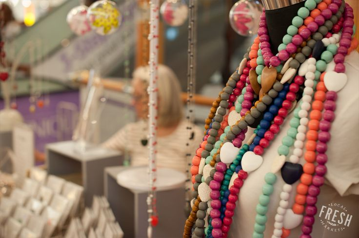 Bev creates bold and colourful jewelry under the name of The Nikabox; spotted at the Made in the Cape Market in Cape Town.