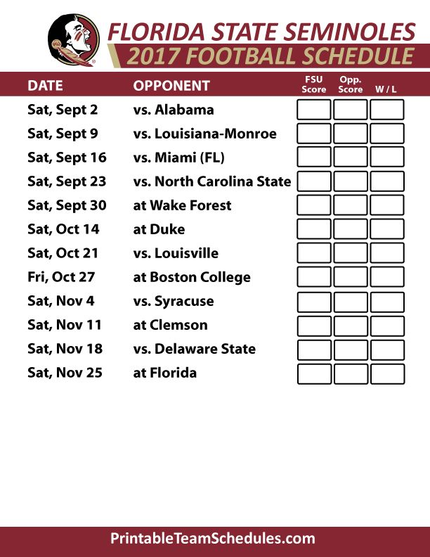 2017 Florida State Seminoles Football Schedule