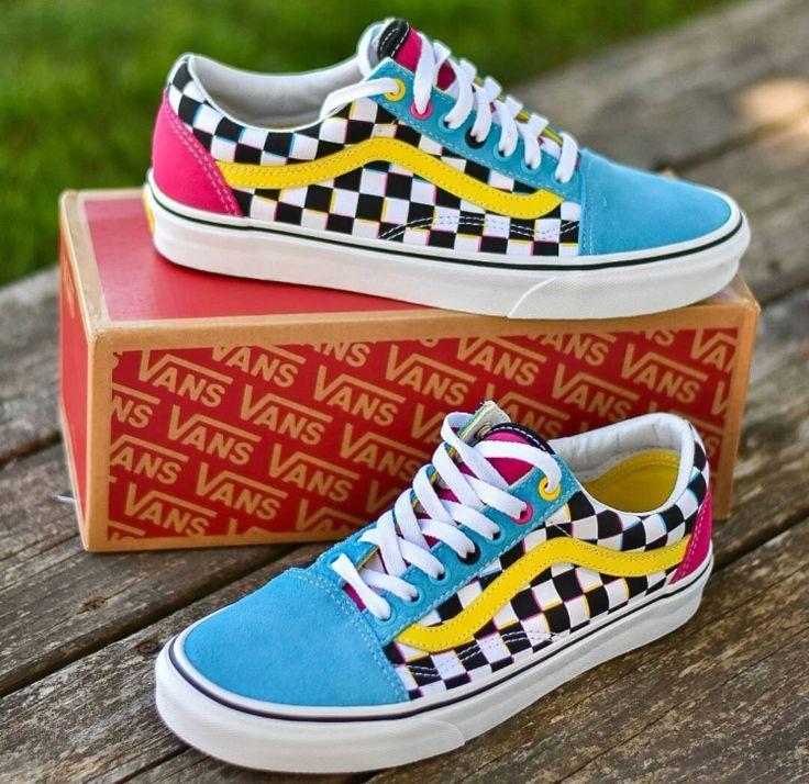 Old Skool CMYK Chex Vans | Custom vans shoes, Shoes, Cute shoes