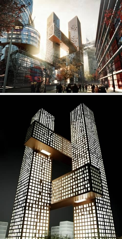 The Hashtag Tower (Seoul, Korea) The Cross # Towers Constitute A  Three Dimensional Urban Community Of Interlocking Horizontal And Vertical  Towers.