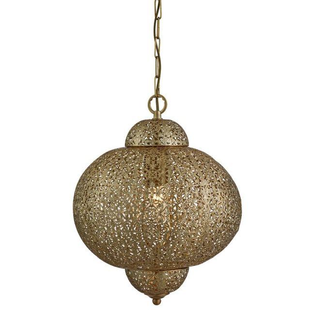 MOROCCAN - závesná marocká lampa - antická mosadz