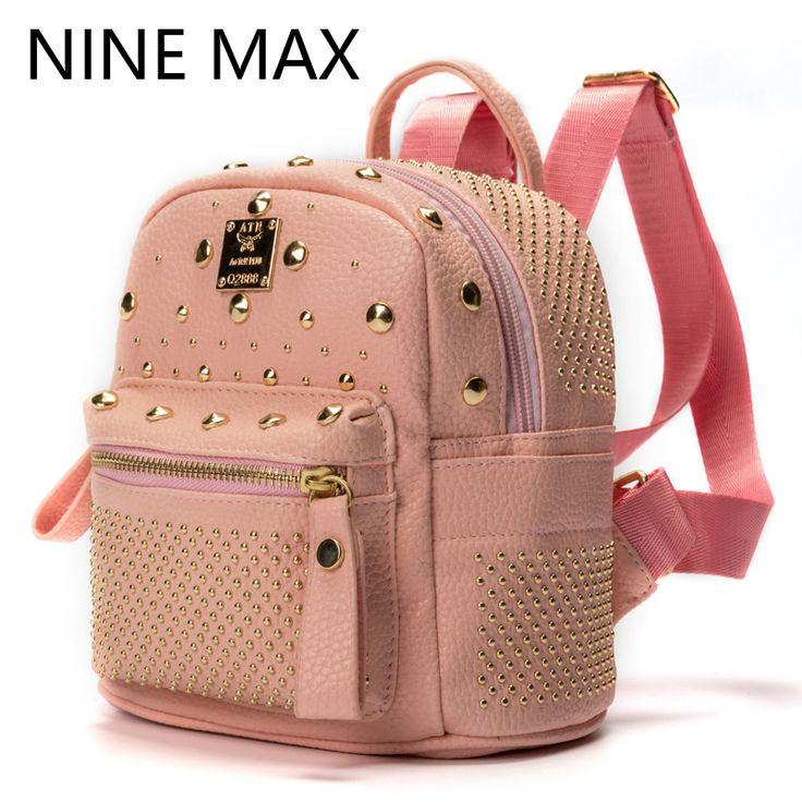 2016 Fashion Washed PU Leather Mini Rivets Women Backpacks Small School Bag For Teenagers Girls Casual Dackpack Mochila Feminina