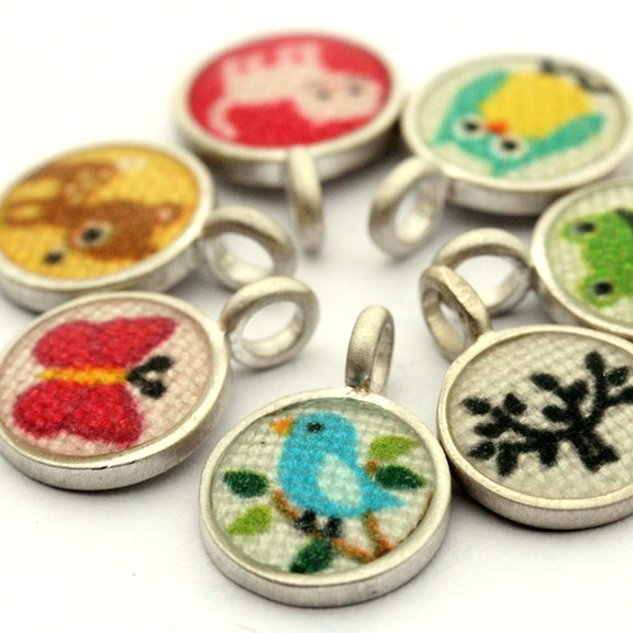 CHOOSE YOUR OWN - 1 tiny fabric pendant on chain. $38.00, via Etsy.