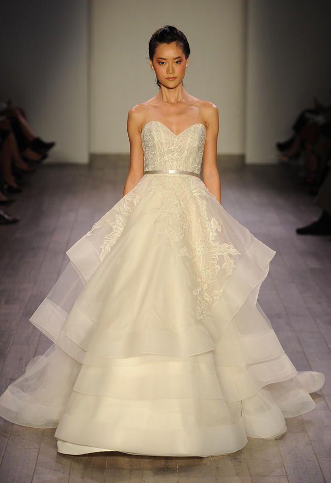 Lazaro shows romantic floral wedding dresses for spring for Lazaro a line wedding dress