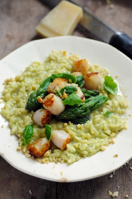 Risotto Cremoso, asparagus, scallops