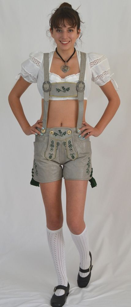 German Import Haus - Ladies Leather Lederhosen - Gray ...
