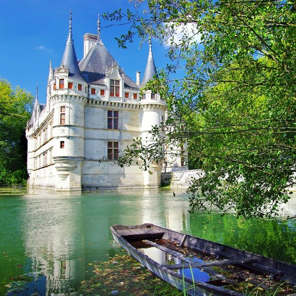Château de Azay-le-Rideau in the Loire Valley, France, is a former feudal castle. During the 12th century, the local seigneur Ridel d'Azay, a knight in the service of Philip II Augustus, built the fortress to protect the Tours to Chinon road.