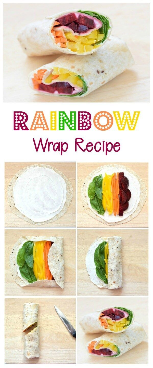 How to make a rainbow wrap - step by step rainbow tortilla wrap recipe - healthy fun food idea for kids packed lunches - Eats Amazing UK