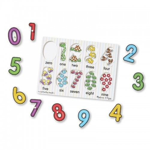 Numbers Peg Puzzle  Number concepts, from 0 to 9, are illustrated in this 10-piece peg puzzle. A colourful picture under each piece shows the same number of items as the numeral on top of the piece, helping to promote number recognition and counting skills. 	Encourages hand-eye, fine motor and visual perception skills.