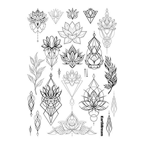"""Set of 2 Waterproof Temporary Fake Tattoo Stickers Vintage Black Grey Geometric Lotus Floral Big. High quality fashionable temporary tattoo, which looks like real. Size: 5.90"""" x 8.26"""". Quantity: 2 in one set. Easy to apply, lasts for 2--5 days. Produced in GMP standard factory,safe to use."""