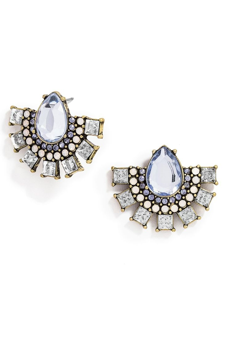 blue and gold crystal statement earrings @nordstrom