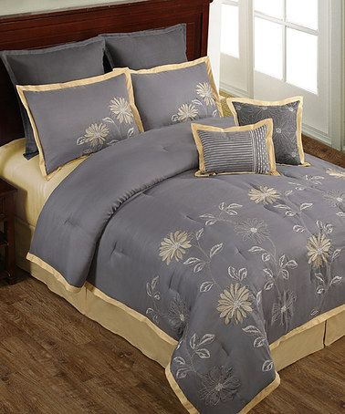 Take a look at this Gray & Yellow Mayflower Floral Comforter Set by Victoria Classics on #zulily today!