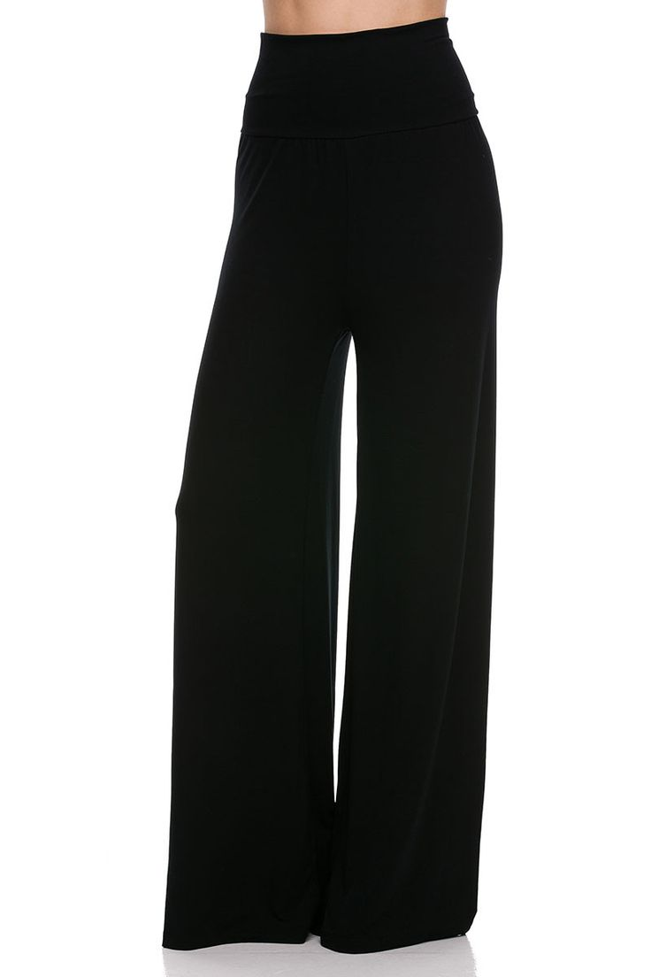 Slim high waist palazzo pants in high quality modal fabric. They feature a perfect fold over waist band for a flattering fit. Fabric Content: 95% RAYON 5% SPANDEX Country: USA