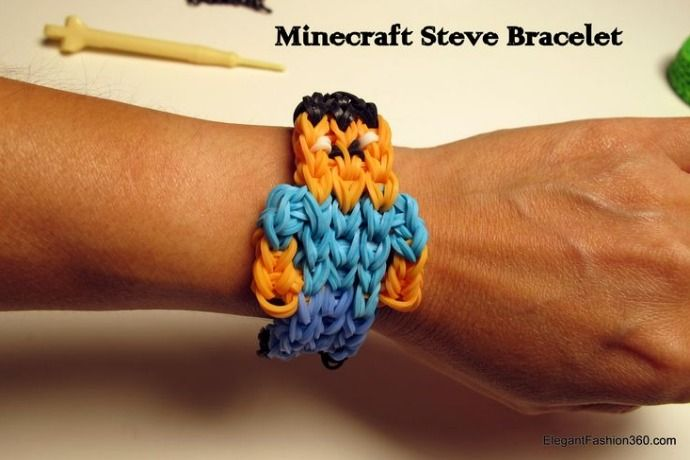 DIY Minecraft Steve rainbow loom bracelet tutorial. Wow!
