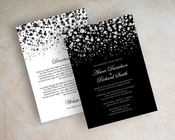 Black and white polka dot wedding invitation, modern, polka dots wedding invitation, polka dot wedding invitations, polka dots, Glitter. www.appleberryink.com Starting at $75.00 per 25 cards.