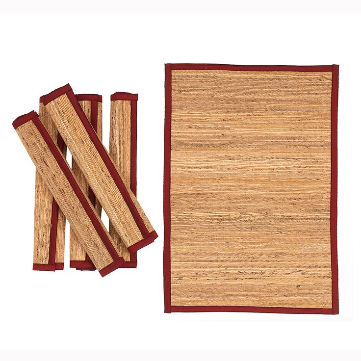 Banana fibre Table mats with wine red silk piping