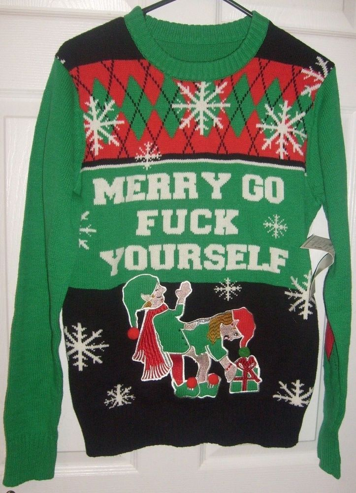 Spencers Ugly Christmas Sweaters.Ugly Christmas Sweater Merry Go F Yourself Elf Couple