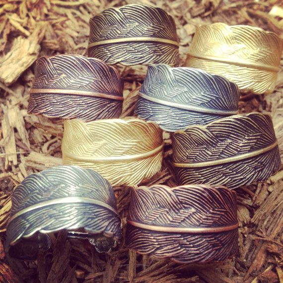 Feather Ring - Adjustable - Copper, Bronze, Silver or Brass