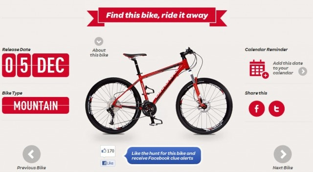 Virgin Mobile in Australia has launched a new site that uses the old gem of an online treasure hunt. The bonus here is that 25 awesome bikes are being given away every day during the campaign.