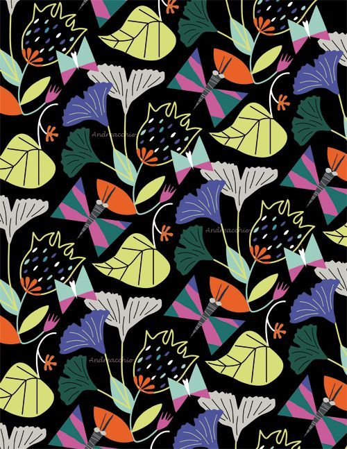 Happy ? Mitou ! Illustration Blog !!!!: Flowers and Butterflies Pattern !!! :)