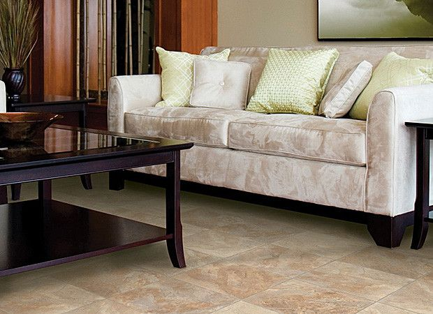 Beige And Cream Tile Look Vinyl Floor For Living Room Design
