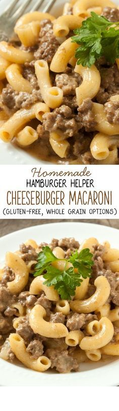 Ditch the boxed mix with this easy and healthier homemade Hamburger Helper Cheeseburger Macaroni! Can be made whole wheat, gluten-free or with regular pasta.