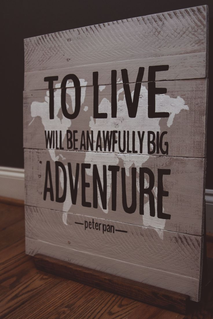 "Our Peter Pan {Life} piece measures approximately 20""X20"" and is available in a light gray wood finish with the world hand painted white and text black.   All OGDS signs come ready to hang with hardware attached as well as a ""no tool required"" hook for easy hanging.   If you are local to the ..."