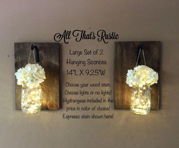 Large Lighted Mason Jar Sconces Mason Jar by AllThatsRustic