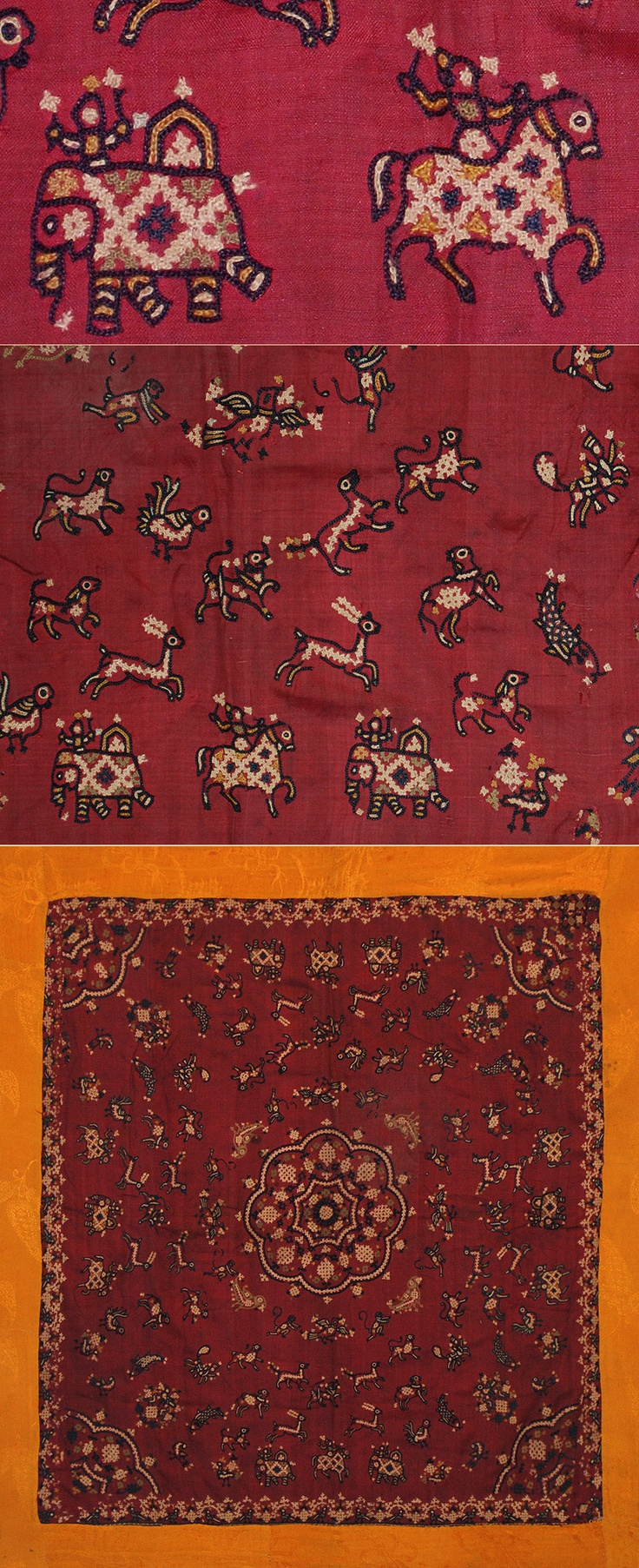 Indian Embroidered Sarees: Antique Indian Silk Embroidery 1800 - 1900 A.D