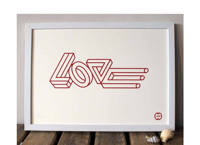 Impossible Love Print - Available as a one colour screen print, A3 (297 x 420mm) printed on 300gsm munken rough white. Limited Edition of 35, hand numbered and signed.