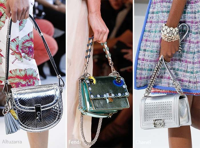 3. Metallic & Shiny Bags  A metallic finish is a dangerous choice, because it is so iconic as an '80s style. However, when blended with other fabrics and unique shapes, it suddenly becomes modern and unique, so it is no surprise that we saw quite a few shiny bags as part of the spring 2017 bag trends.  At Marc Jacobs, we saw some gorgeous metallic bucket bags in shades of blue and gold. The fabric looked as though it had been folded, and the unique texture worked very well with the sheen…