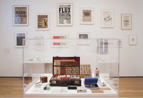 An international art movement of the 1960s and 1970s, Fluxus—whose name was based on the Latin word flux, meaning constant flow or change—brought together artists working in music, poetry, film, theater, and the visual arts. The movement challenged the commodification of art and favored nontraditional modes of expression, such as collective performances, inexpensive publications, and unlimited editions of small objects.
