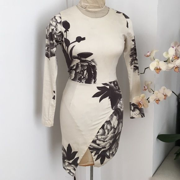 """Nasty Gal Maurie & Eve Madison Mini-Dress Ivory and gray floral mini dress featuring an asymmetric wrap front and long sleeves. Zip closure at back, stretch fabric. Amazing for going out in the summer time. 34"""" length, runs true to size (size XS). SOLD-OUT ONLINE Nasty Gal Dresses Mini"""