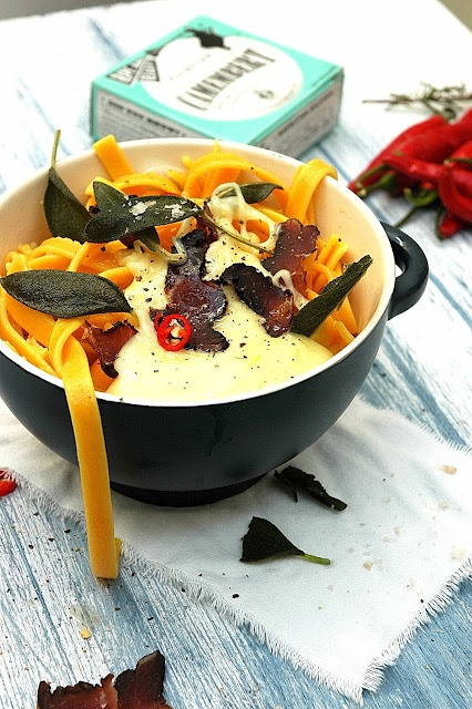 Butternut Fettuccine with Baked Camembert, biltong and Fried Sage