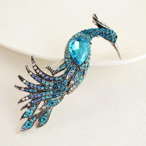 crystal rhinestone peacock brooche/hijab pin